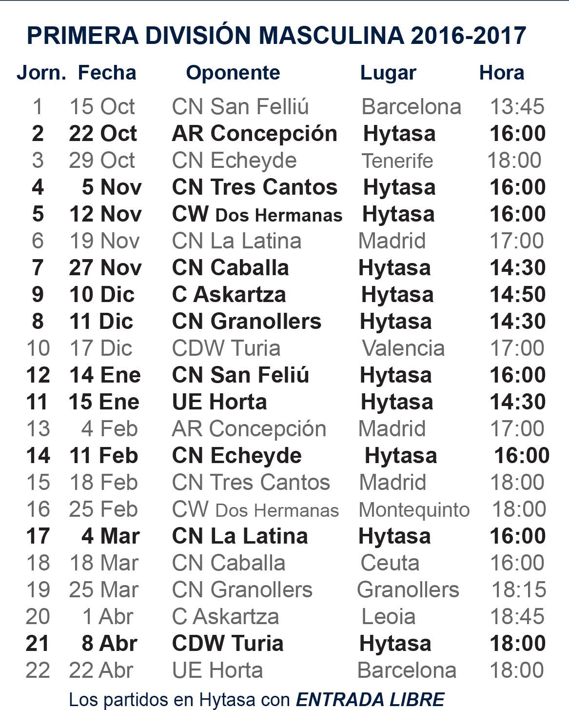Calendario CWS 1º Div Nacional